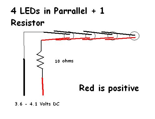 4LED circuit - 10 ohms