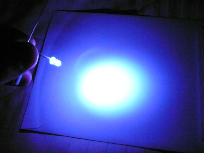 Light Purple LED on white paper
