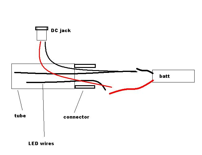 simpler way to connect DC jack. Use separate wires to connect the DC jack to the battery after you connect the LED wires from the switch.